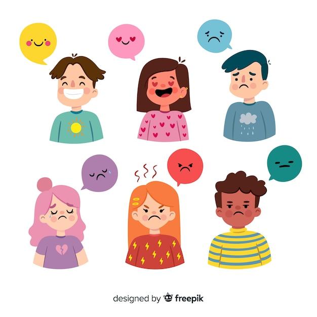 Collection d'émotions de jeunes Vecteur gratuit