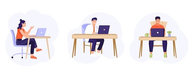 Collection D'employés De Bureau Assis à Un Bureau. Vecteur Premium
