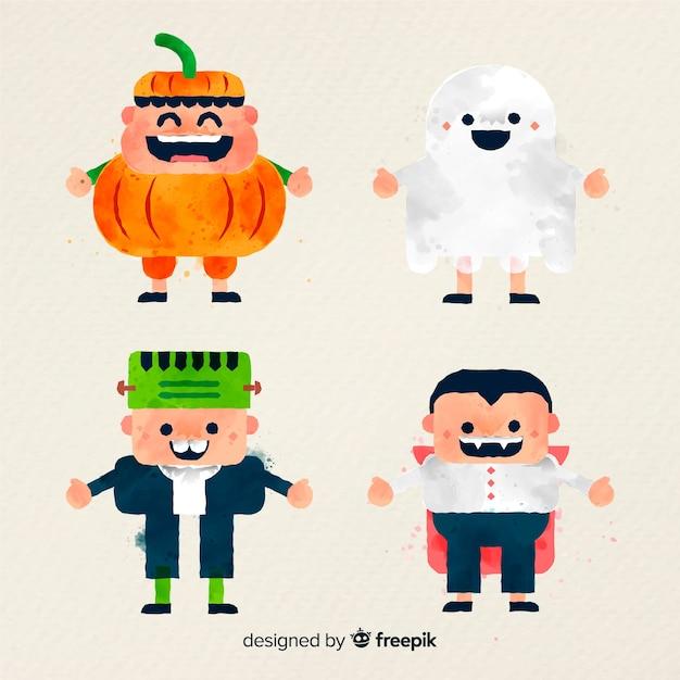 Collection d'enfant halloween dans un style aquarelle Vecteur gratuit