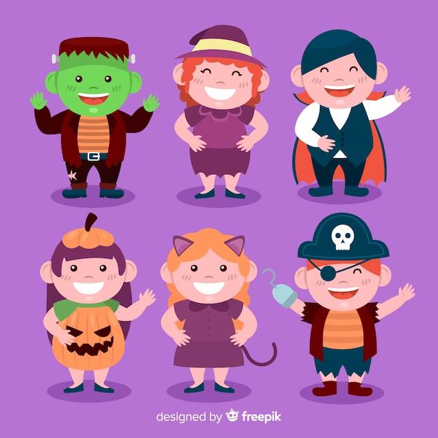 Collection d'enfant halloween design plat Vecteur gratuit