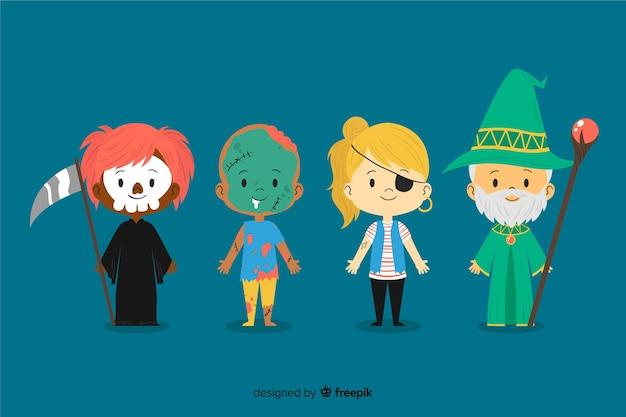 Collection avec enfant halloween dessiné à la main Vecteur gratuit