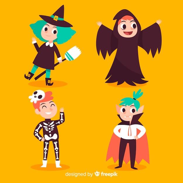 Collection d'enfant halloween mignon dessiné à la main Vecteur gratuit