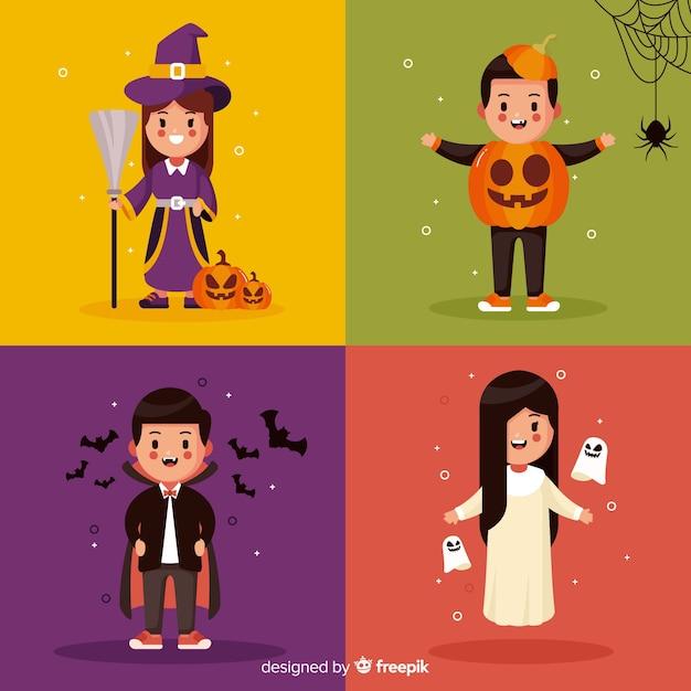 Collection d'enfant halloween plat sur fond de couleur différente Vecteur gratuit