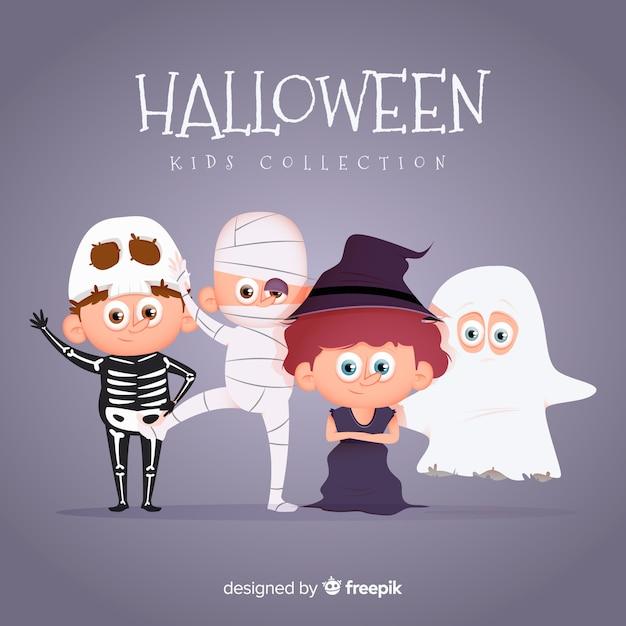 Collection enfant halloween plat Vecteur gratuit