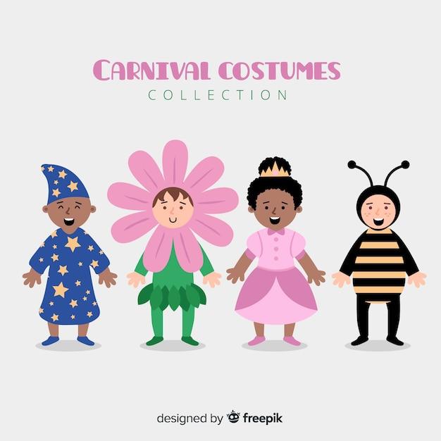 Collection enfants carnaval Vecteur gratuit