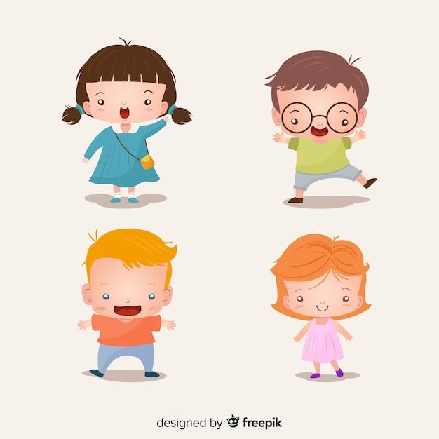Collection d'enfants colorés avec un design plat Vecteur gratuit
