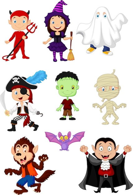Collection enfants en costume d'halloween Vecteur Premium