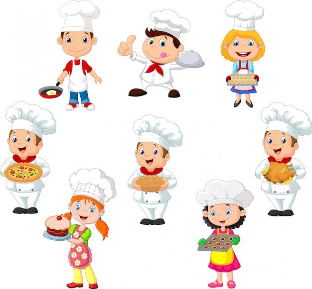 Collection d'enfants cuisinier chef Vecteur Premium