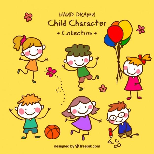 Collection d'enfants drôles dessinés à la main Vecteur gratuit