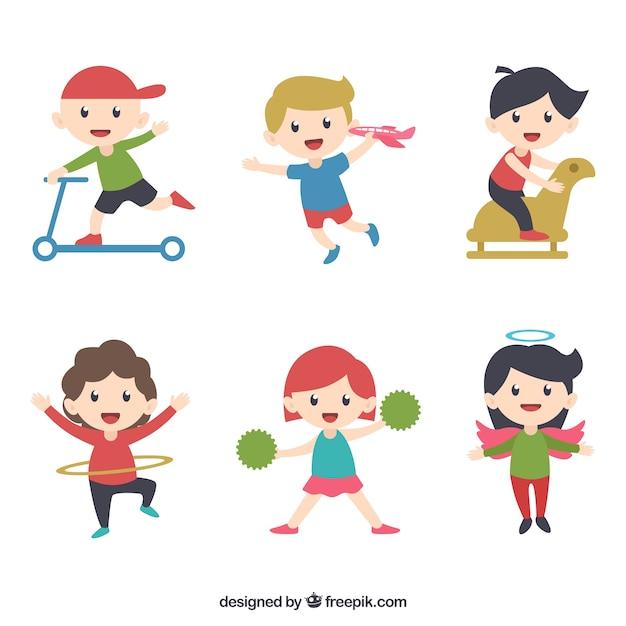 Collection d'enfants drôles jouant Vecteur gratuit