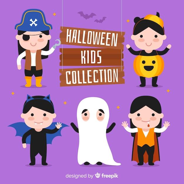Collection d'enfants d'halloween Vecteur gratuit
