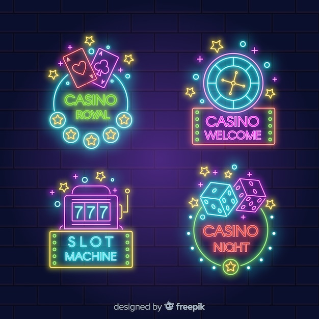 Collection d'enseignes au néon de casino réaliste Vecteur gratuit