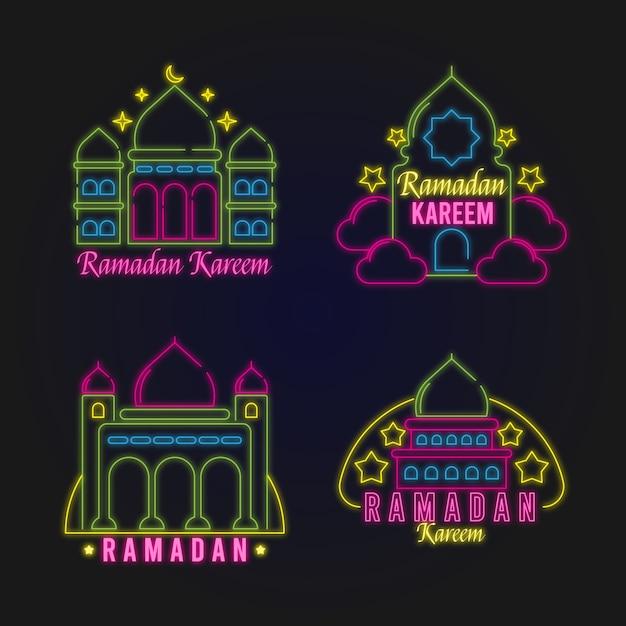 Collection D'enseignes Au Néon Du Ramadan Vecteur gratuit