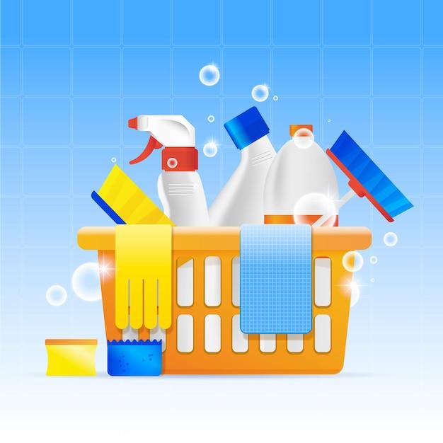 Collection D'équipements De Nettoyage De Surfaces Vecteur gratuit