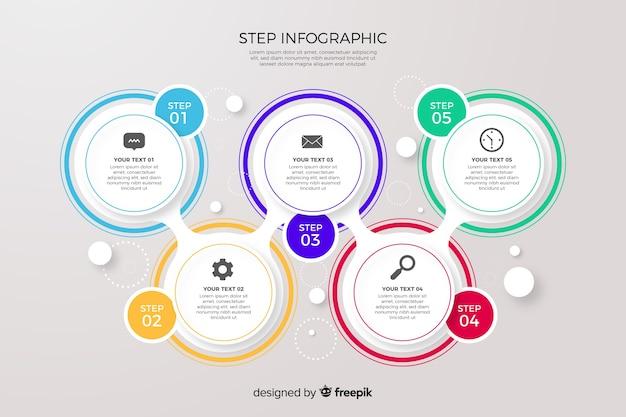 Collection d'étapes infographiques colorées Vecteur gratuit