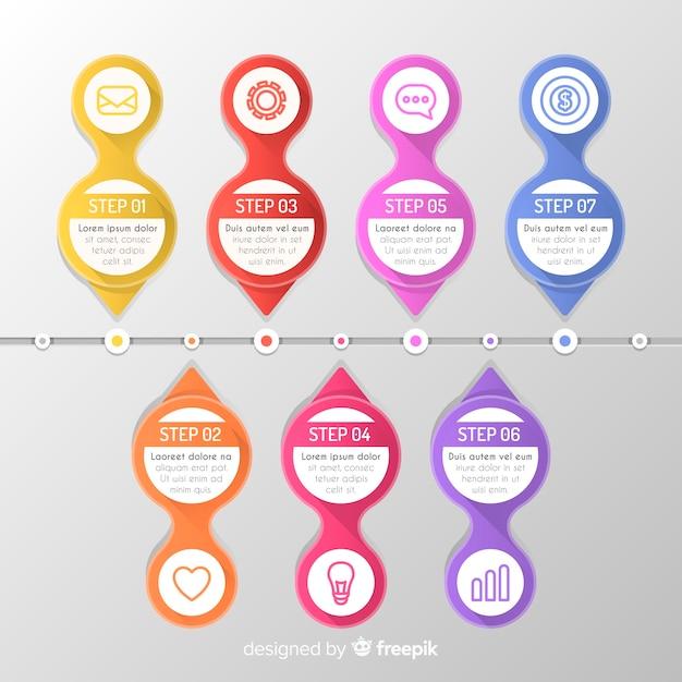 Collection d'étapes infographiques plat coloré Vecteur gratuit