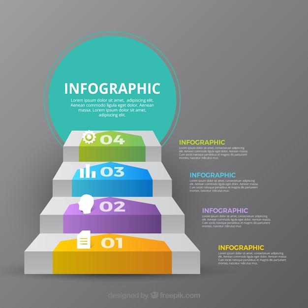Collection d'étapes inforgraphiques avec beaucoup de couleurs Vecteur gratuit