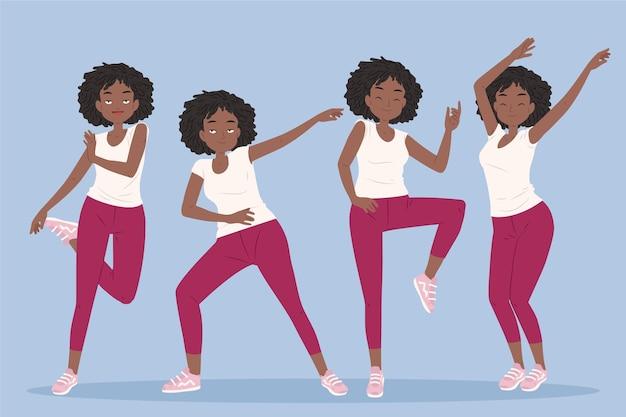 Collection D'étapes De Remise En Forme De Danse Dessinés à La Main Avec Des Gens Vecteur gratuit