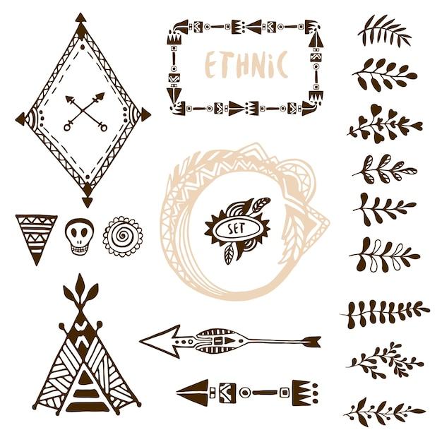 Collection Ethnique Dessinés à La Main Avec Des Flèches, Wigwam, Cadres Et Frontière, éléments De Grève De Brosse Floral Vecteur Premium