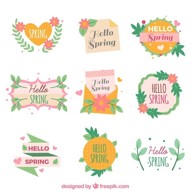 Collection D'étiquette Ou De Badge Printemps Plat Vecteur gratuit