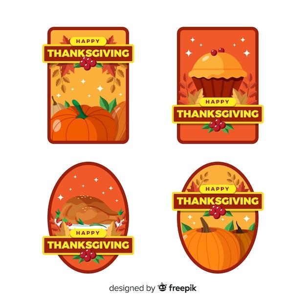 Collection d'étiquette de thanksgiving en design plat Vecteur gratuit
