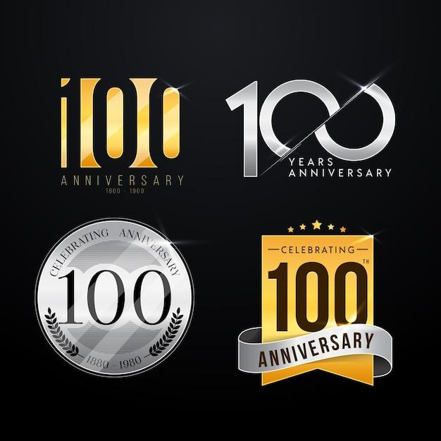 Collection D'étiquettes 100 Ans Vecteur Premium