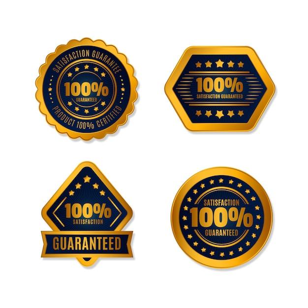 Collection D'étiquettes 100% Garantie Vecteur Premium