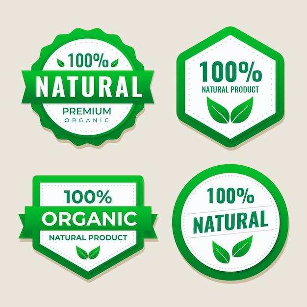 Collection D'étiquettes 100% Naturelles Vecteur Premium