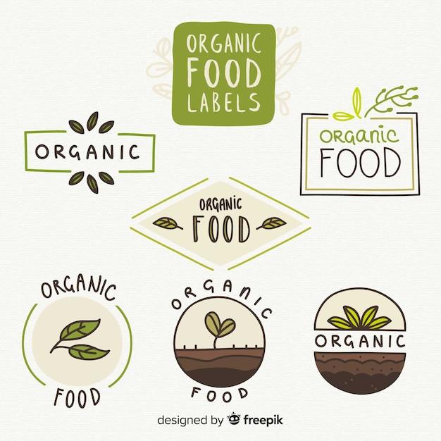 Collection d'étiquettes d'aliments biologiques dessinés à la main Vecteur gratuit