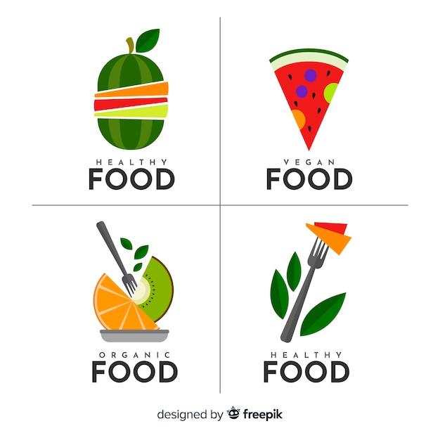Collection d'étiquettes d'aliments biologiques et plats Vecteur gratuit