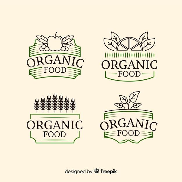 Collection d'étiquettes d'aliments biologiques vintage Vecteur gratuit