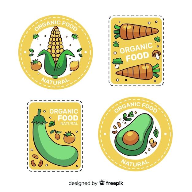 Collection d'étiquettes d'aliments biologiques Vecteur gratuit
