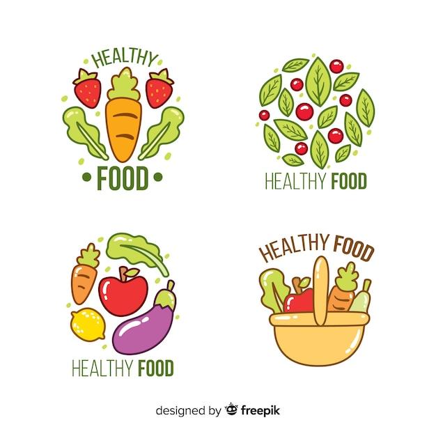 Collection d'étiquettes d'aliments naturels dessinés à la main Vecteur gratuit