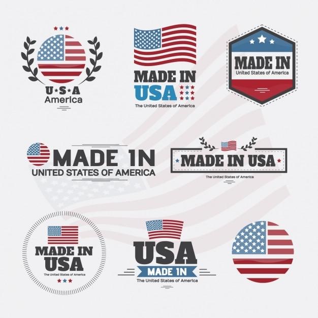 Collection d'étiquettes américaines Vecteur gratuit