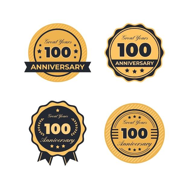 Collection D'étiquettes Anniversaire One Houndred Vecteur Premium