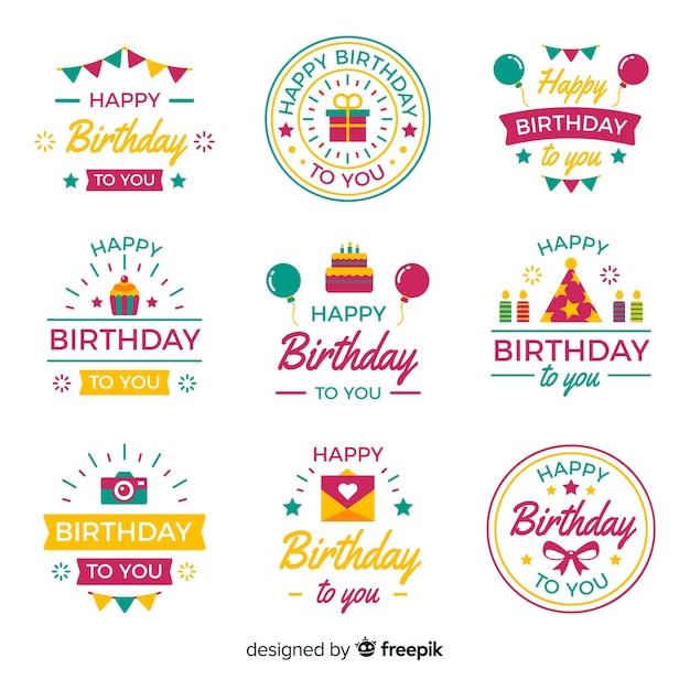 Collection d'étiquettes anniversaire plates Vecteur gratuit