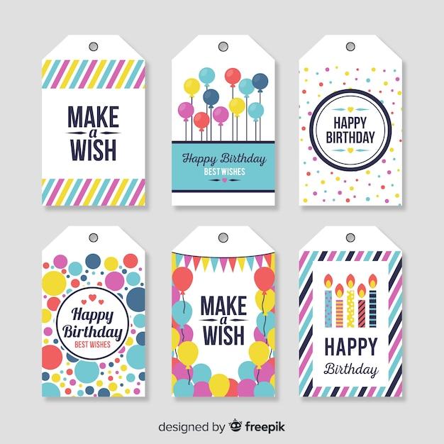 Collection d'étiquettes d'anniversaire Vecteur gratuit