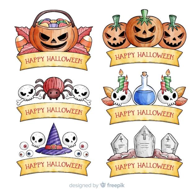 Collection d'étiquettes d'aquarelle halloween Vecteur gratuit