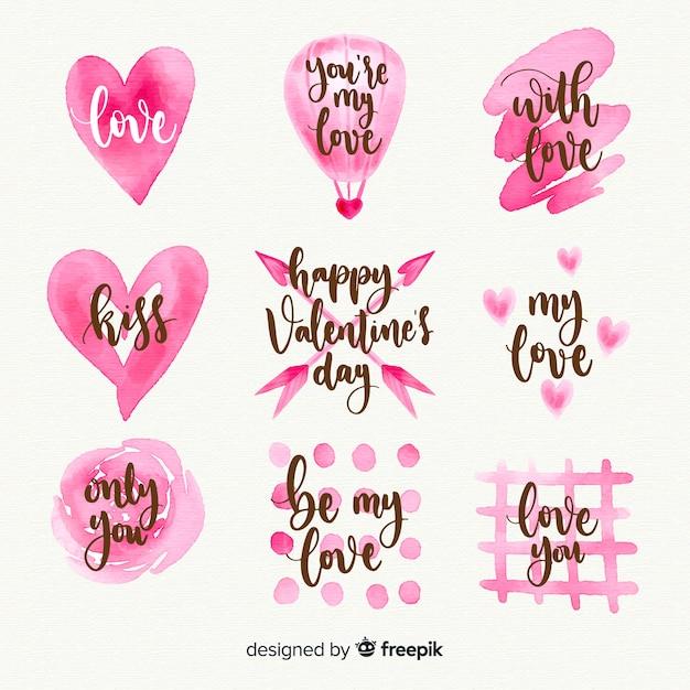 Collection d'étiquettes aquarelle saint valentin Vecteur gratuit