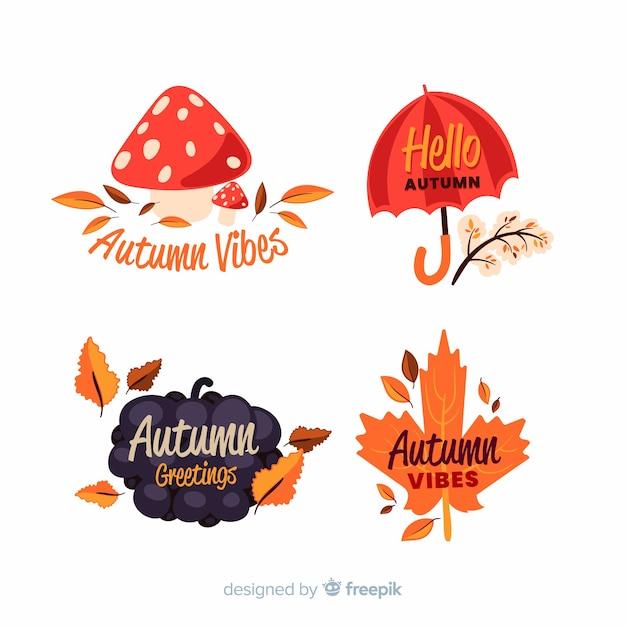 Collection D'étiquettes D'automne Dessinés à La Main Vecteur gratuit