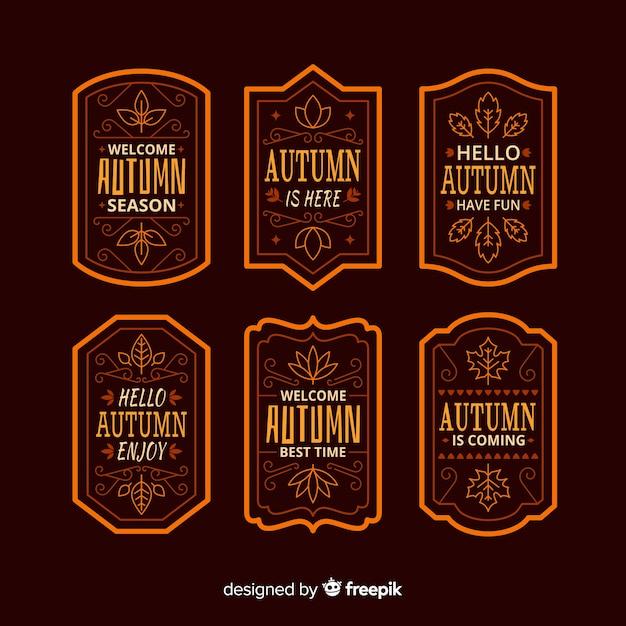 Collection d'étiquettes automne vintage Vecteur gratuit