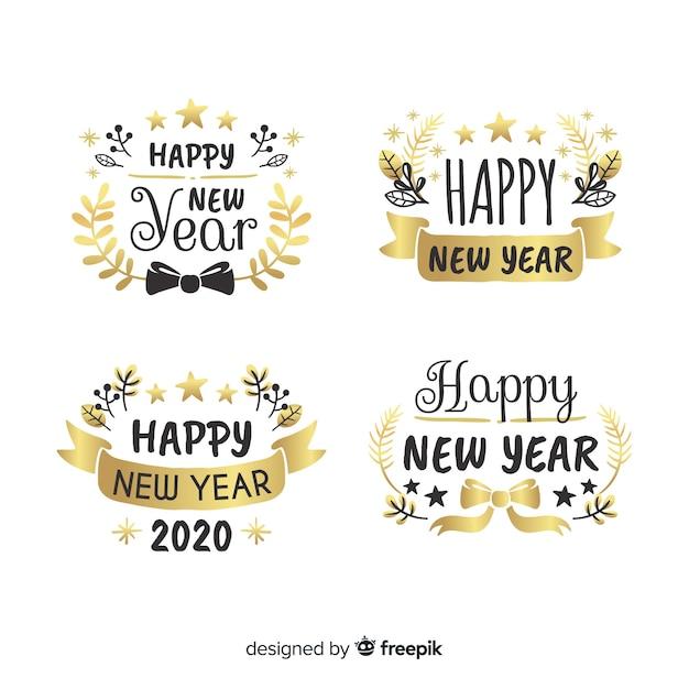 Collection d'étiquettes et de badges du nouvel an 2020 Vecteur gratuit