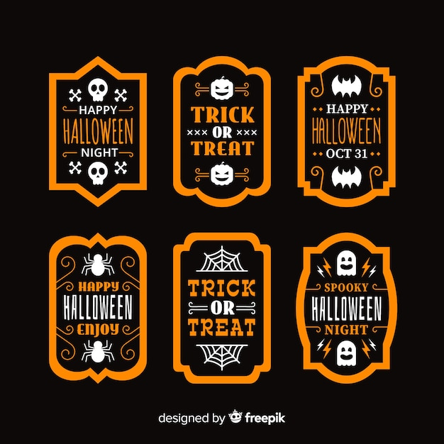 Collection d'étiquettes et de badges halloween plats Vecteur gratuit