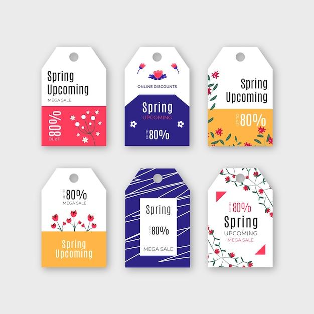 Collection D'étiquettes / Badges De Printemps Avec Vente Vecteur gratuit