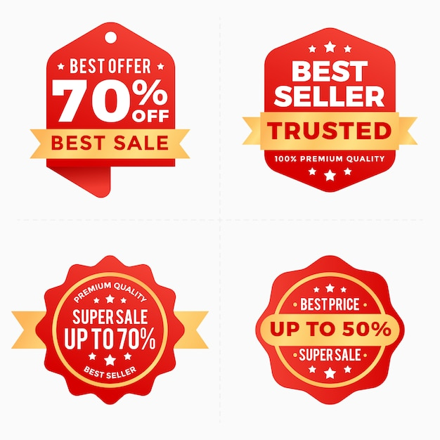 Collection d'étiquettes de bannières rouges Vecteur Premium