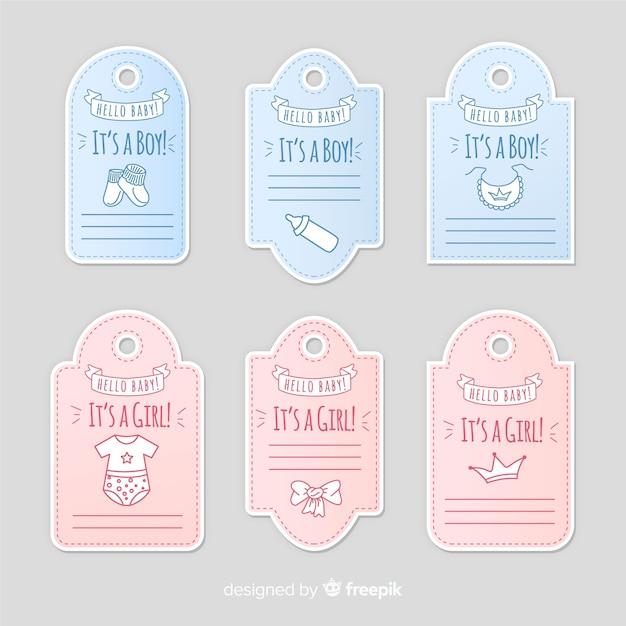 Collection d'étiquettes bébé Vecteur gratuit