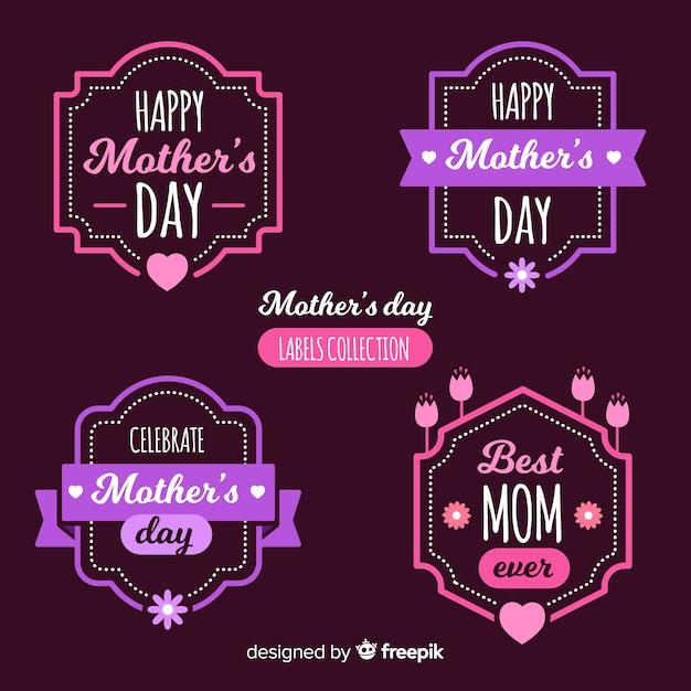 Collection d'étiquettes de bonne fête des mères Vecteur gratuit