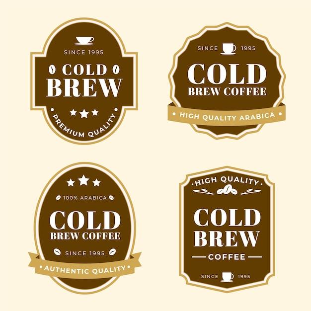 Collection D'étiquettes De Café Infusion Froide Vecteur gratuit