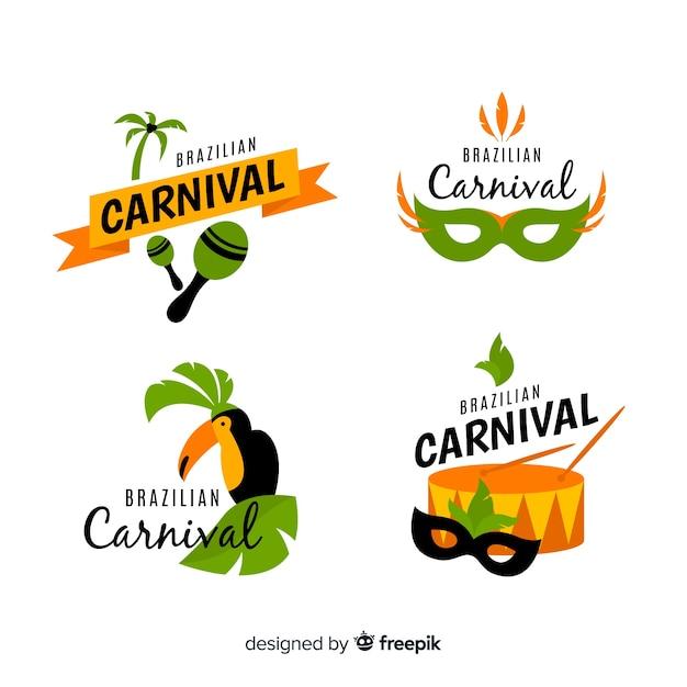 Collection d'étiquettes de carnaval brésilien Vecteur gratuit