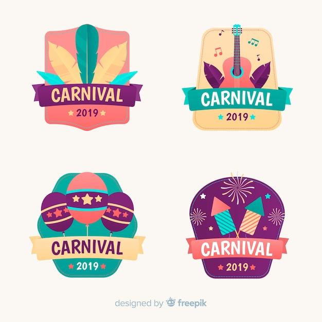 Collection d'étiquettes de carnaval Vecteur gratuit